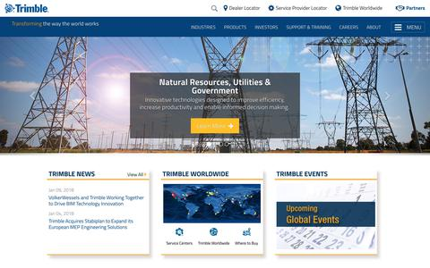 Screenshot of Home Page trimble.com - Trimble - Transforming the Way the World Works - captured Jan. 14, 2018