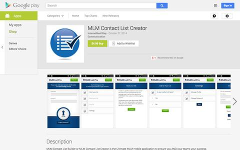Screenshot of Android App Page google.com - MLM Contact List Creator - Android Apps on Google Play - captured Nov. 3, 2014