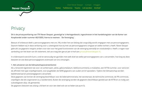 Screenshot of Privacy Page neverdespair.nl - Privacy – TTV Never Despair - captured May 29, 2019