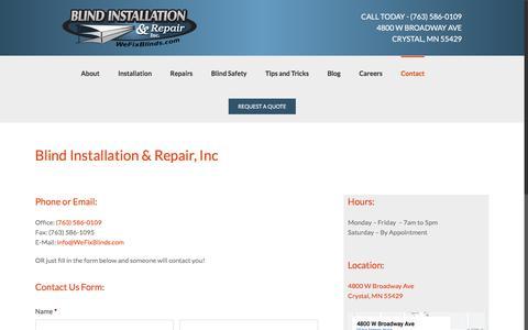 Screenshot of Contact Page wefixblinds.com - Contact Us - Blind Installation & Repair Minneapolis MN - captured Jan. 4, 2020