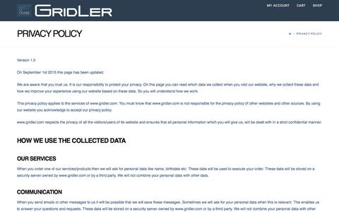 Screenshot of Privacy Page gridler.com - Privacy Policy | Gridler - captured Oct. 26, 2016