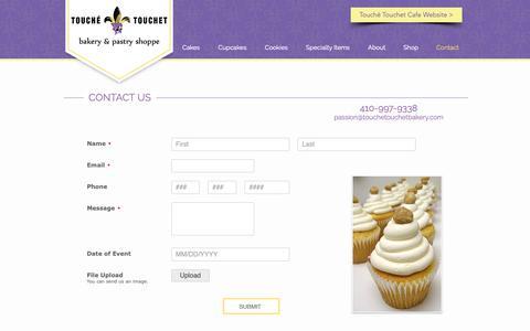 Screenshot of Contact Page touchetouchetbakery.com - Touche Touchet Bakery Contact Informaton - captured Oct. 20, 2018