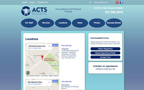 Screenshot of Locations Page acadiancts.com - Physio Therapists   Work Conditioning   Exercise Therapy   Physio - Physical Therapy – Occupational Therapy – Lafayette - captured Oct. 4, 2014