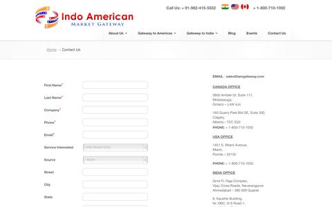 Screenshot of Contact Page iamgateway.com - Indo American Market Gateway, ,   Contact Us - captured Oct. 6, 2014