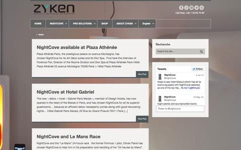 Screenshot of Press Page zyken.com - news Archives - NIGHTCOVE - captured Sept. 17, 2014