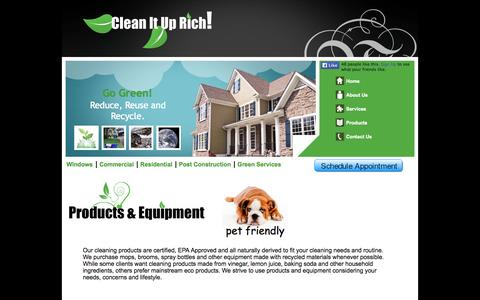 Screenshot of Products Page cleanituprich.com - Products - captured Sept. 30, 2014