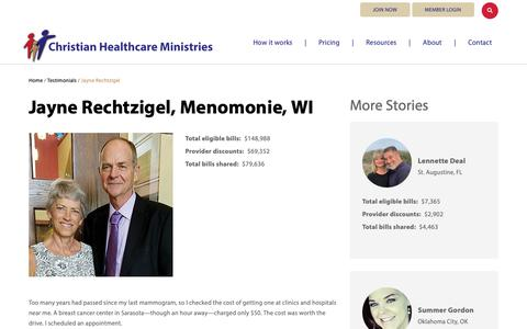 Screenshot of Testimonials Page chministries.org - Menomonie, WI              | Christian Healthcare Ministries - captured May 16, 2019