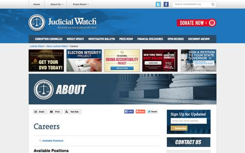 Screenshot of Jobs Page judicialwatch.org - Careers - Judicial Watch - captured Oct. 27, 2014