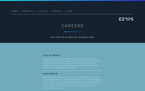 Screenshot of Jobs Page ezops.com - Careers | EZOPS - captured Sept. 26, 2018