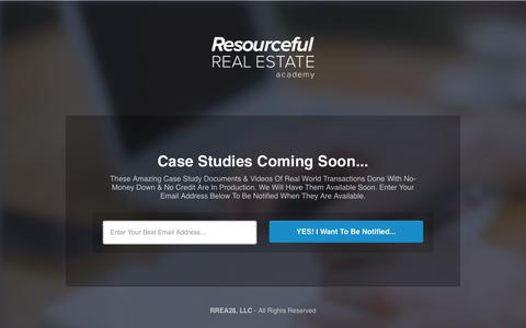 Screenshot of Case Studies Page resourcefulrealestateacademy.com - My Awesome Landing Page - captured Oct. 29, 2014