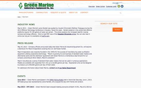 Screenshot of Press Page greenmarine.com - News Room - captured Oct. 3, 2014