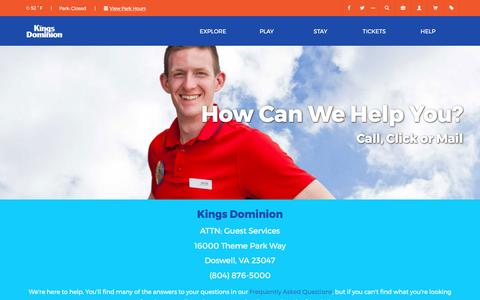Screenshot of Contact Page kingsdominion.com - Contact Us   Kings Dominion - captured May 9, 2017