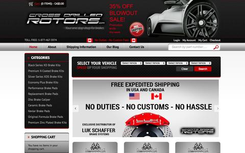 Screenshot of Home Page Blog About Page Privacy Page Contact Page Login Page crossdrilledrotors.ca - CrossDrilledRotors.ca - Your One Stop Shop for Brakes! - captured Oct. 3, 2014