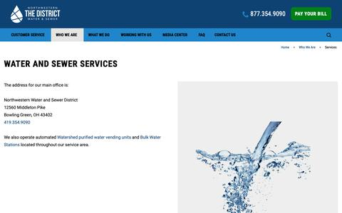 Screenshot of Services Page nwwsd.org - Our Water Services in Wood County   Northwestern Water & Sewer - captured Oct. 19, 2018