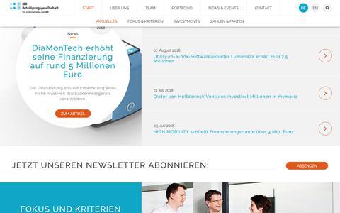 Screenshot of ibb-bet.de - IBB Beteiligungsgesellschaft mbh - Start - captured Oct. 1, 2018