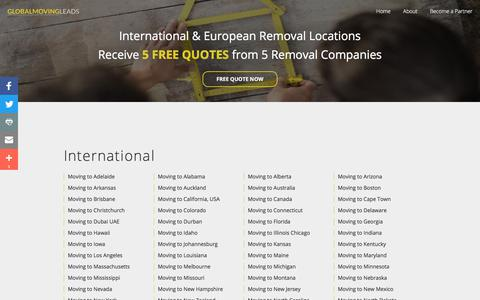 Screenshot of Locations Page globalmoving.co.uk - International Moving Locations - captured Aug. 10, 2017