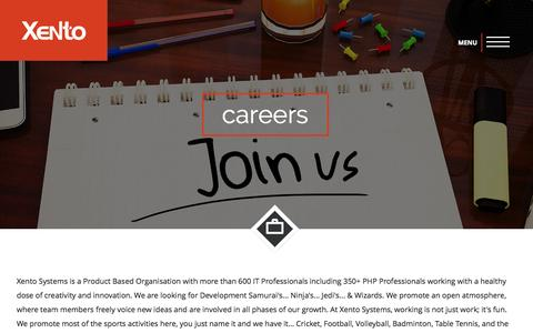 Screenshot of Jobs Page xento.com - Xento  | Careers - captured Sept. 23, 2015