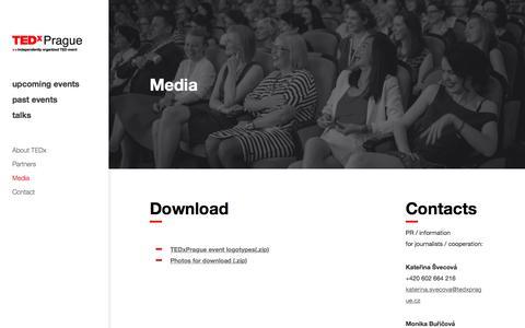 Screenshot of Press Page tedxprague.cz - Media | TEDxPrague.cz - captured Aug. 13, 2016