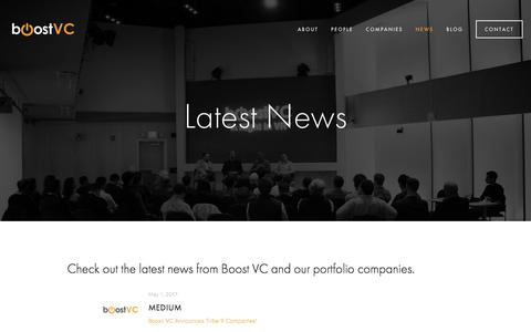 Screenshot of Press Page boost.vc - News — Boost VC - captured Oct. 7, 2017