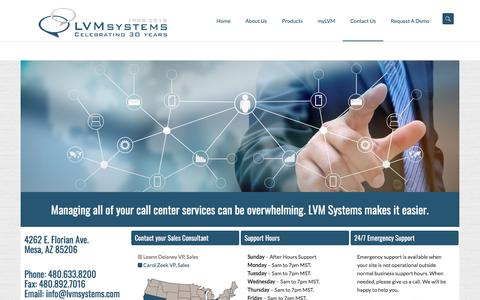 Screenshot of Contact Page lvmsystems.com - Contact Us   | LVMSystems - captured July 15, 2018