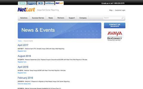 Screenshot of Press Page netlert.com - NetLert - News & Events - captured Nov. 4, 2017