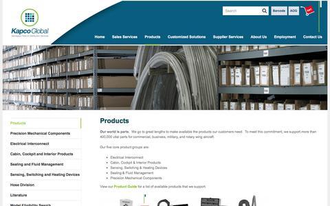Screenshot of Products Page kapco-global.com - Products - KapcoGlobal - captured Aug. 8, 2016