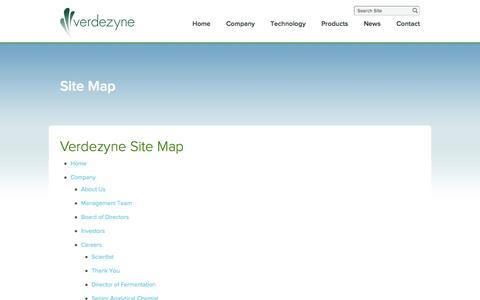 Screenshot of Site Map Page verdezyne.com - Site Map - captured Sept. 17, 2014