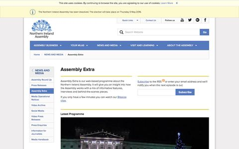 Screenshot of niassembly.gov.uk - Assembly Extra - Northern Ireland Assembly - captured April 13, 2016