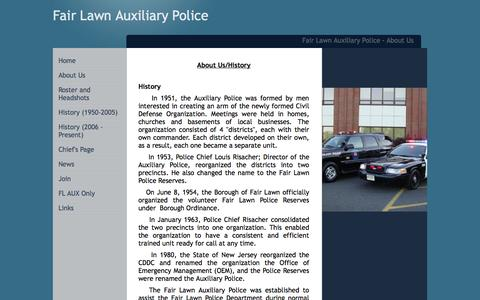Screenshot of About Page fairlawnauxpolice.com - Fair Lawn Auxiliary Police - About Us - captured Oct. 5, 2014