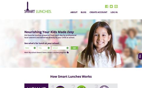 Screenshot of Home Page smartlunches.com - Smart Lunches - captured July 28, 2019
