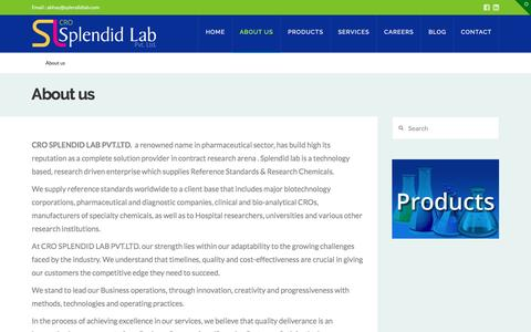 Screenshot of About Page splendidlab.com - Custom Synthesis India:SPLENDID LAB-Custom Chemical Synthesis India - captured May 9, 2017