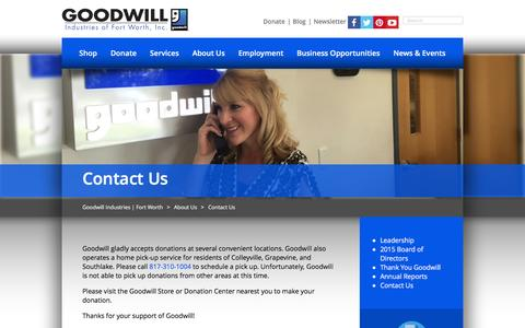 Screenshot of Contact Page goodwillfortworth.org - Contact Us | Goodwill Industries | Fort Worth - captured Jan. 31, 2016