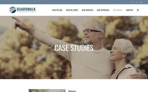 Screenshot of Case Studies Page boardwalk-fs.com - Case Studies - Boardwalk Financial Strategies - captured Oct. 6, 2018