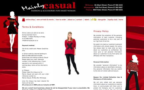 Screenshot of Privacy Page Terms Page mainlycasual.co.nz - Mainly Casual Fashion for Woman | Womens Clothing Online | NZ Fashion | Whangamata, Whitianga, Thames NZ - captured June 15, 2016