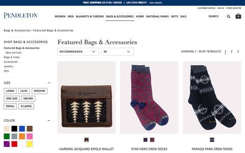 Screenshot of pendleton-usa.com - Featured Bags & Accessories | Bags & Accessories | Pendleton - captured Oct. 27, 2017