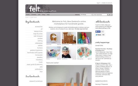 Screenshot of Home Page felt.co.nz - New Zealand's online marketplace for handmade goods | Felt - captured Sept. 25, 2014