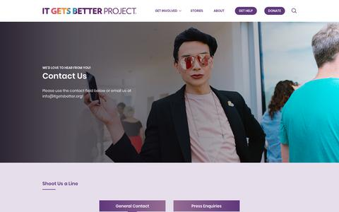 Screenshot of Contact Page itgetsbetter.org - Contact Us – It Gets Better - captured Feb. 22, 2018