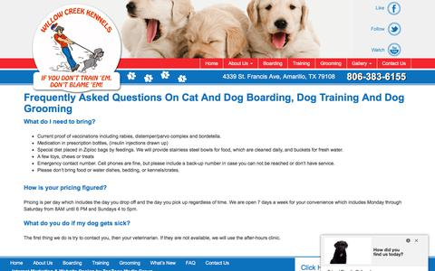 Screenshot of FAQ Page amarillodogboarding.com - Amarillo Dog Boarding - captured Oct. 21, 2017