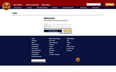 Screenshot of Login Page baen.com - Customer Login - captured Sept. 28, 2018