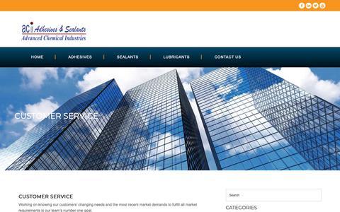 Screenshot of Support Page aci-adhesive.com - Customer Service - Aci Adhesive - captured Oct. 3, 2018