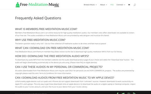 Screenshot of FAQ Page free-meditation-music.com - Frequently Asked Questions | Free Meditation Music - captured Dec. 5, 2016