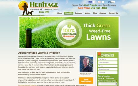 Screenshot of About Page heritagelawnskc.com - About Us | Heritage Lawns & Irrigation - captured Oct. 3, 2014
