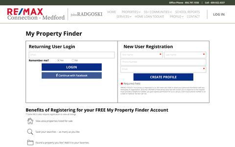 Screenshot of Login Page johnradgoski.com - Real Estate & Homes for Sale in Cherry Hill NJ | John Radgoski Remax - captured Oct. 31, 2018