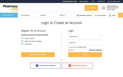 Screenshot of Login Page pharmacyonline.com.au - Customer Login - captured July 17, 2018