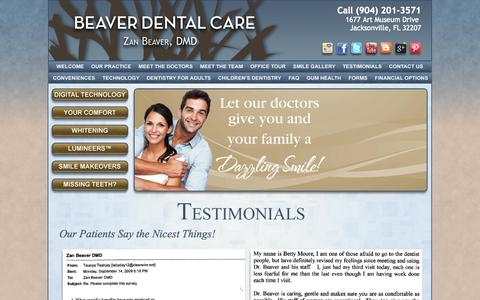 Screenshot of Testimonials Page beaverdental.com - Dental Patient Testimonials Jacksonville FL 32207, Beaver Dental Care, Patient Reviews, Dentist Dr. Beaver, Dr. Leonard - captured Oct. 5, 2014