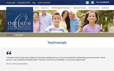 Screenshot of Testimonials Page optimumpm.com - Testimonials   Optimum Professional Property Management - captured Oct. 21, 2017