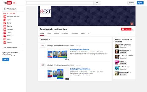 Screenshot of YouTube Page youtube.com - Estrategia investimentos  - YouTube - captured Oct. 22, 2014