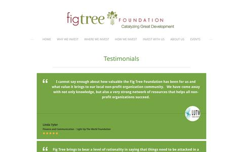 Screenshot of Testimonials Page figtreefoundation.org - Testimonials - Fig Tree Foundation - captured Dec. 26, 2016
