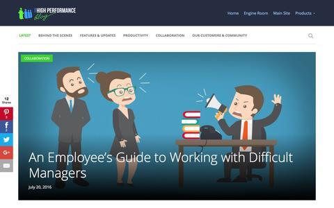 Screenshot of Blog teamwork.com - Teamwork.com - The High Performance Blog - captured July 23, 2016