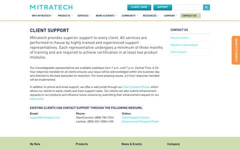 Screenshot of Support Page mitratech.com - Mitratech Client Support - captured Oct. 2, 2014